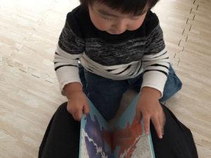 ぞうくんのあめふりさんぽを読む息子