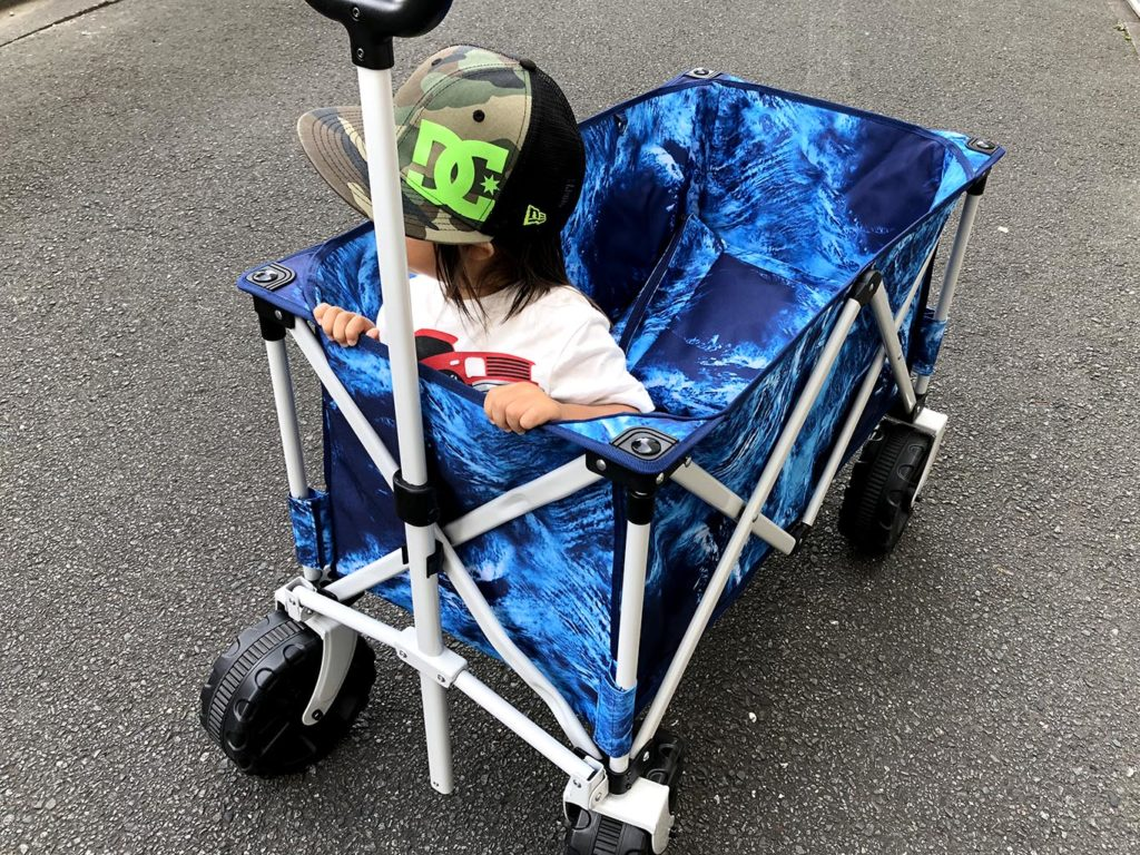 キャリーカートに乗って遊ぶ息子