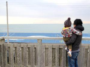 展望台から九十九里浜を眺める