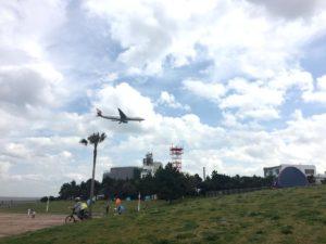 飛行機が公園上空を通過