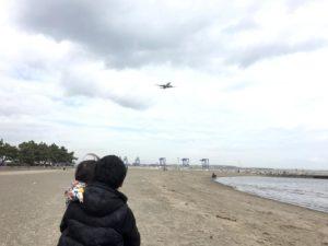 つばさ浜から飛行機を見る