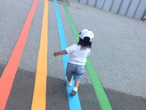 トーマスランドへの青い線