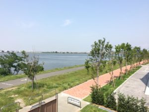 殿町第2公園展望台より羽田空港を見る
