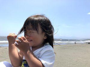 海を満喫した息子