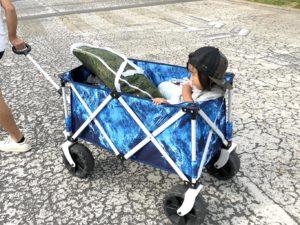 キャリーカートに乗る息子